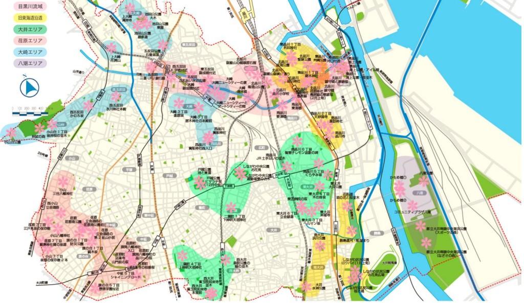 品川区全域の桜マップ。 地図をクリックすると詳細のマップが表示されます。
