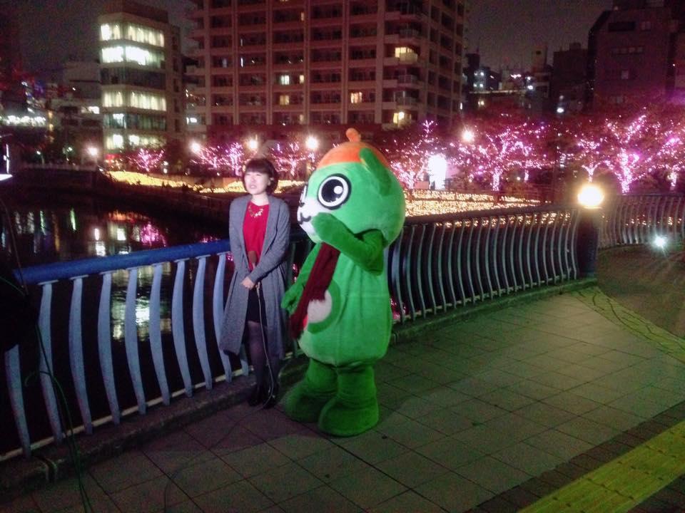 おまけ。昨年は点灯式の後に、大崎一番太郎は天気予報に出演しちゃいました。